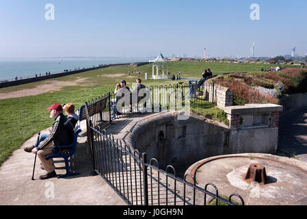 Enjoying a sunny Spring day at the seafront next to the historic castle, Southsea, Hampshire, UK - Stock Photo