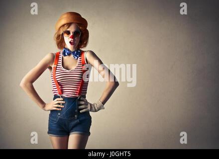 Clown woman - Stock Photo