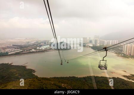 Ngong Ping 360, which consists of a cable car journey Hong Kong cable car ride Lantau isalnd Hong Kong International - Stock Photo