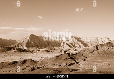The Timna Valley - historical area is rich in copper ore,  the southwestern Arabah, Israel. Sepia - Stock Photo