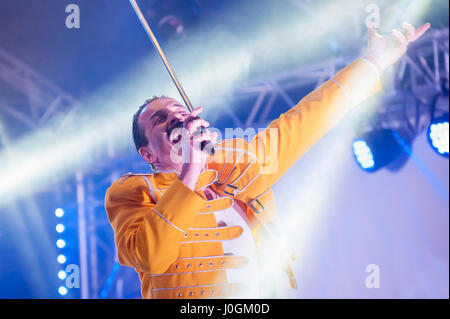 Yateley, UK - June 30, 2012: Professional Freddie Mercury tribute artist Steve Littlewood performing at the GOTG - Stock Photo