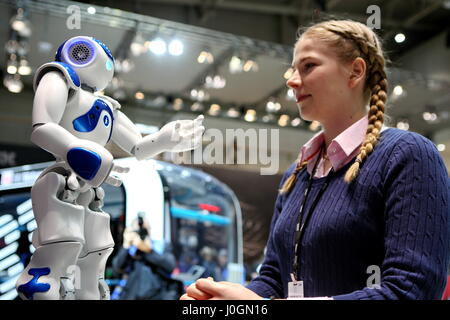 Hanover, Germany. 19th March, 2017.  Robot 'Marvin', Type Nao (developed by Aldebaran Robotics), controled by IBM - Stock Photo