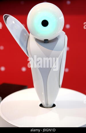 Hanover, Germany. 19th March, 2017. 'RoboPin', talking mediator-robot by Fujitsu with artificial intelligence, e.g. - Stock Photo