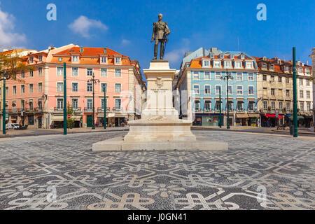 Duque da Terceira Square with a beautiful geometric mosaic in Lisbon, Portugal. - Stock Photo