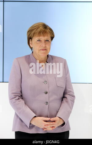 Hanover, Germany. 20th March, 2017. Angela Merkel, Federal Cancellor of Germany, speaks at opening walk at CeBIT 2017, exhibition stand of CeBIT 2017-partner country Japan. CeBIT 2017, ICT trade fair, lead theme 'd!conomy - no limits'. Photocredit: Christian Lademann