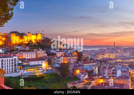 The Castle of Sao Jorge, the historical centre of Lisbon, Tagus River and 25 de Abril Bridge at scenic sunset, Lisbon, - Stock Photo