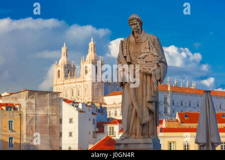 Statue of Saint Vincent, the patron saint of Lisbon, in Alfama, Lisbon, Portugal. Monastery of Sao Vicente de Fora - Stock Photo