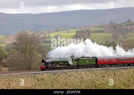 Steam train LNER A3 Class 4-6-2 no 60103 Flying Scotsman. Lazonby, Eden Valley, Cumbria, Settle to Carlisle Railway - Stock Photo