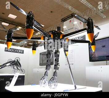 Hanover, Germany. 21th March, 2017. Hexacopter drone PD6B-AW-ARM by Prodrone (Japan) with two gripper arms. CeBIT - Stock Photo
