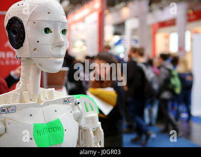 Hanover, Germany. 21th March, 2017. InMoov, first Open Source 3D printed life-size robot, mounted by french sculptor and designer Gael Langevin. CeBIT 2017, ICT trade fair, lead theme 'd!conomy - no limits'. Photocredit: Christian Lademann