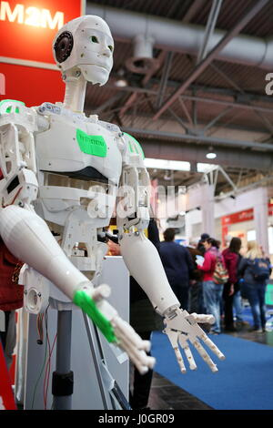 Hanover, Germany. 21th March, 2017. InMoov, first Open Source 3D printed life-size robot, mounted by french sculptor - Stock Photo