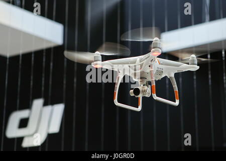 Hanover, Germany. 21th March, 2017. Quadcopter drone DJI Phantom 4. CeBIT 2017, ICT trade fair, lead theme 'd!conomy - Stock Photo