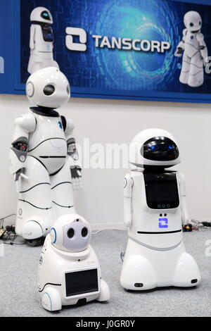 Hanover, Germany. 21th March, 2017. Intelligent humanoid robots by 'Tanscorp' (Shenzhen Tanscorp Technology Co., - Stock Photo