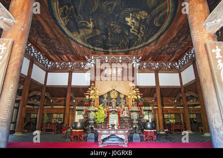 Honden main hall, interior view with golden painted dragon in the ceiling at Nanzen-ji temple. Kyoto Japan. - Stock Photo