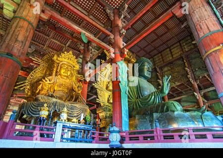 The Todaiji Buddha. It is considered the world's largest bronze statue of the Buddha Vairocana in Nara Japan. - Stock Photo