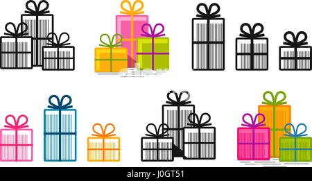 Gifts, set icons. Surprise, shopping, box symbol or logo. Vector illustration - Stock Photo