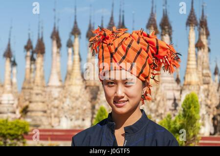 Pa'O beautiful young woman visiting Kakku pagodas, Myanmar near the lake Inle. This sacred place is on the territory - Stock Photo