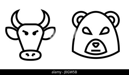 Stock Market Bulls and Bears Thin Line Vector Icon. Flat icon isolated on the white background. Editable EPS file. - Stock Photo