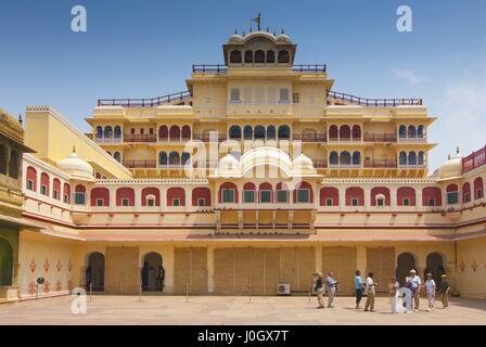 Chandra Mahal seen from Pitam Niwas Chowk, Jaipur City Palace, Rajasthan, India. - Stock Photo