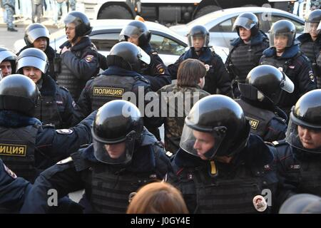 March 26, 2017. - Russia, Moscow. - Police officers detain participants in the unauthorized anti-corruption rally - Stock Photo