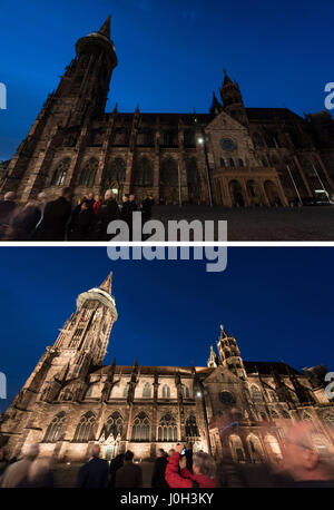Freiburg, Germany. 12th Apr, 2017. COMBO - View of the Freiburg Minster without lights (top) and illuminated with - Stock Photo