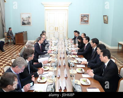 Moscow, Russia. 12th Apr, 2017. Chinese Vice Premier Zhang Gaoli(4th R) and his Russian counterpart Arkady Dvorkovich(6th - Stock Photo