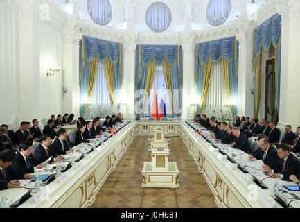 Moscow, Russia. 12th Apr, 2017. Chinese Vice Premier Zhang Gaoli and Russian First Deputy Prime Minister Igor Shuvalov co-chair the fourth meeting of the China-Russia Investment Cooperation Committee in Moscow, Russia, April 12, 2017. Credit: Wang Ye/Xinhua/Alamy Live News