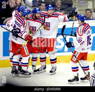From left Czech Milan Doudera, David Sklenicka, Robin Hanzl (author of goal), Jakub Lev and Dominik Kubalik  celebrate - Stock Photo