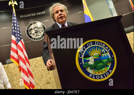 Doral, Estados Unidos. 13th Apr, 2017. Secretary General of the OAS, Luis Almagro, speaks during the event of the - Stock Photo