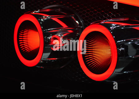Manhattan, New York, USA. 12th Apr, 2017. Spyker C8 Preliator illuminated red tail lights are seen close-up at the - Stock Photo