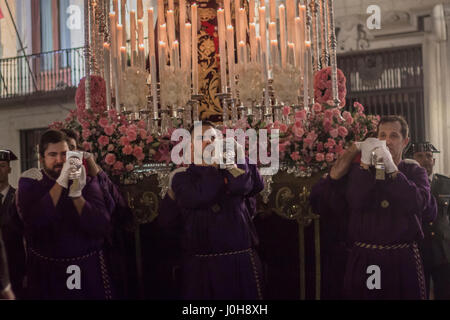 Madrid, Spain. 13th Apr, 2017. The traditional Holy Thursday procession took place in the main streets of Madrid. - Stock Photo