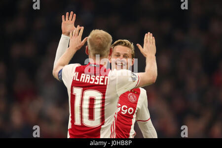 Amsterdam, The Netherlands. 13th Apr, 2017. Ajax's Davy Klaassen and Frenkie de Jong (R) celebrate after the UEFA - Stock Photo