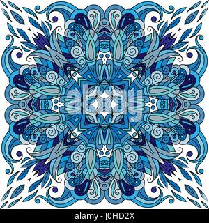 Ornamental doodle floral pattern, design for pocket square, textile, silk shawl, pillow, scarf. Blue ornament on - Stock Photo