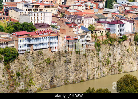 Tbilisi, Georgia - September 24, 2016: View of Metekhi historic district on the cliff - Stock Photo