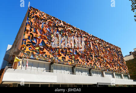 Tbilisi, Georgia - September 25, 2016: Mosaic on facad of buildung on Agmashenebeli Avenue is one of the main street - Stock Photo
