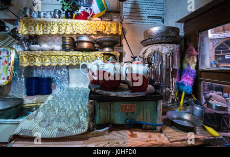 Small tea house on the old Bazaar of Kashan city, capital of Kashan County in Iran