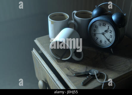 A real life concept scene showing a vintage clock on a bed side table with dirty coffee mugs and a stained top at - Stock Photo