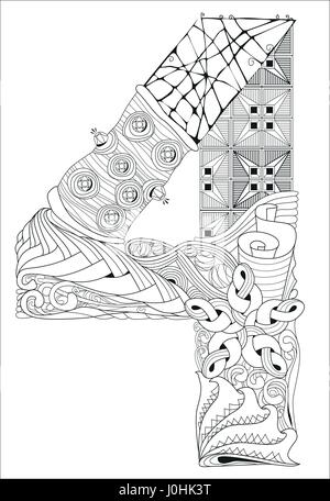 Number four Zentangle. Vector decorative object - Stock Photo