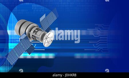abstract 3d digital background with satellite and head silhouette