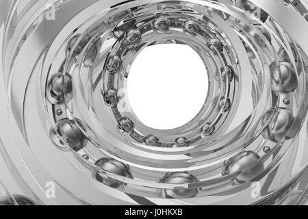 Realistic glass whirling bearing in the bearing white background, 3d rendering - Stock Photo