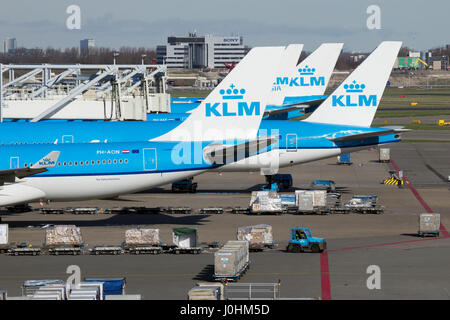 AMSTERDAM-SCHIPHOL - FEB 16, 2016: KLM Boeing aircraft on the tarmac of Schiphol airport. - Stock Photo