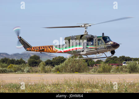 ZARAGOZA, SPAIN - MAY 20,2016: Special painted Italian Air Force Agusta Bell AB-212 military helicopter from 21 - Stock Photo