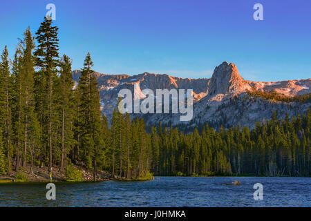 Photographed on Lake Mary Road in the city of Mammoth Lakes, California is when this view of the Lower Twin Lakes - Stock Photo