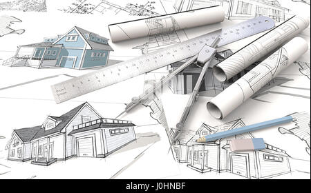 Top view of Architectural house blueprints , drawings and sketches. Rolls, Ruler, Pencil, Eraser and Divider of - Stock Photo