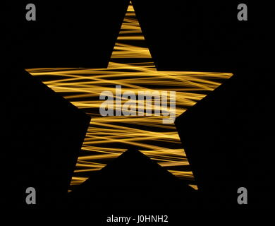 Star stencil light painting photography, with black background/outline. Long exposure photo - fairy lights in a - Stock Photo