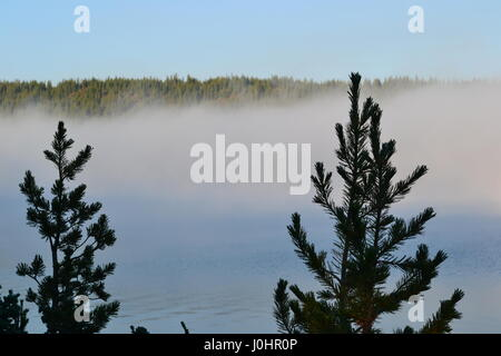 Morning mist covers Lake Clark in Yellowstone National Park - Stock Photo