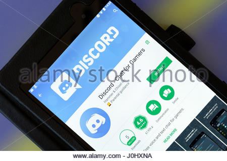 Discord app on an android tablet PC Dorset England UK - Stock Photo