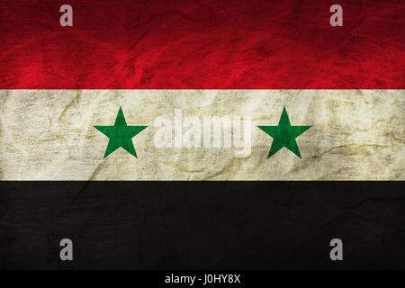 Syrian Flag on a sheet of Paper - Stock Photo