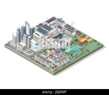 Vector isometric contemporary eco city with buildings, streets, people and vehicles: commercial area, residential - Stock Photo