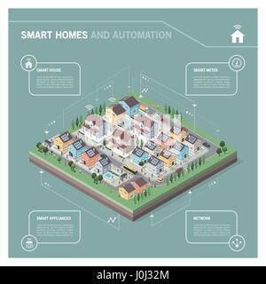 Vector isometric residential area with houses, people, streets and vehicles: smart homes and connectivity concept - Stock Photo